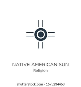 Native american sun icon vector. Trendy flat native american sun icon from religion collection isolated on white background. Vector illustration can be used for web and mobile graphic design, logo,