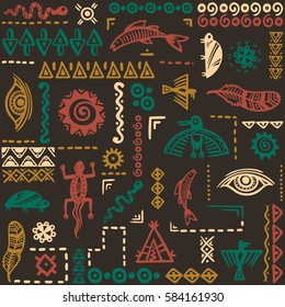 Native American symbols ornament. Vintage boho pattern