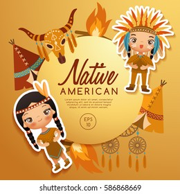 Native American traditional costumes : Vector Illustration