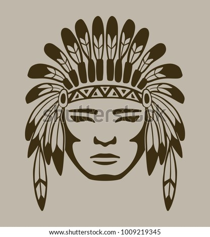 Native American Warrior Hand Drawn Vector Stock Vector Royalty Free