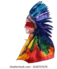 Native american watercolor shaman