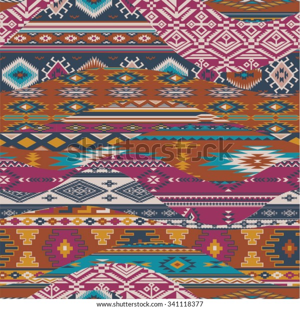 Native American Waves Patchwork Vector Seamless Stock Vector ...