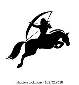 Native American woman, archer rider and horse silhouette, logo