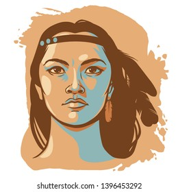 Native american woman in headband with feathers. Vector hand drawn illustration