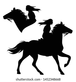 native american woman riding a horse - horseback indian girl black and white vector silhouette