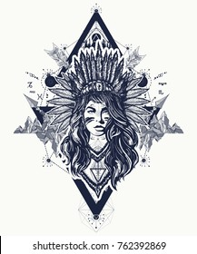 Native American woman tattoo art. Ethnic girl warrior t-shirt design