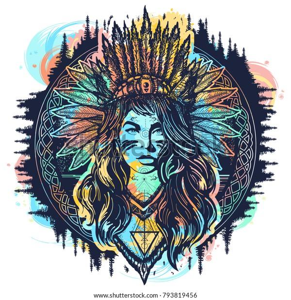 Image Vectorielle De Stock De L Art Du Tatouage D Une Femme Amerindienne 793819456