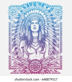 Native American Woman Warrior with Tribal frame. Vector Illustration for T-shirts