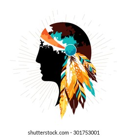 Native american women in tribal headdress. Authentic poster with silhouette