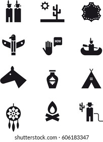 NATIVE AMERICANS black icons pack
