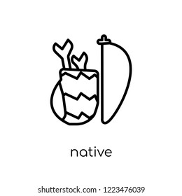 native amertican arrows and quiver icon. Trendy modern flat linear vector native amertican arrows and quiver icon on white background from thin line American Indigenous Signals collection