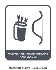 native amertican arrows and quiver icon vector on white background, native amertican arrows and quiver trendy filled icons from Culture collection