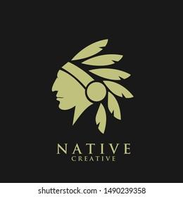 native apache indian gold logo icon designs vector illustration template