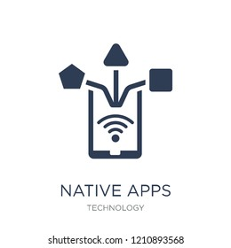 Native apps icon. Trendy flat vector Native apps icon on white background from Technology collection, vector illustration can be use for web and mobile, eps10