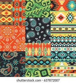 Native  and bandanna fabric patchwork vector seamless patterns