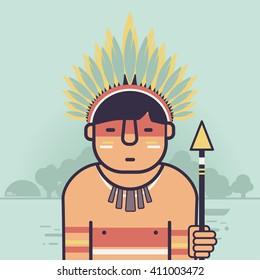 Native Brazilian, indian icon. Amazon