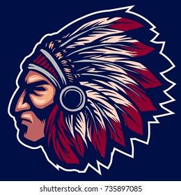 native head Indian tribe american apache mascot team logo