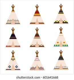 native house tent pattern vector illustration flat design