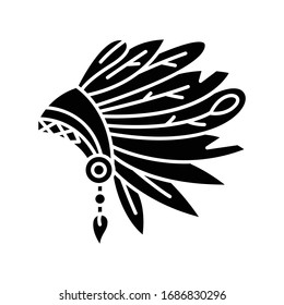 Native Indian American chief hat black glyph icon. Ethnic accessory. Ancient headdress with feathers. Antique head wear. Silhouette symbol on white space. Vector isolated illustration