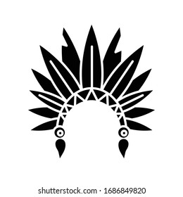 Native Indian American chief hat black glyph icon. Cherokee tribe headwear. Ethnic accessory. Ancient headdress with bird feathers. Silhouette symbol on white space. Vector isolated illustration