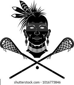 Native Indian Lacrosse Silhouette Symbol