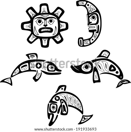 native indian shoshone tribal drawings fish stock vector royalty Lion Food Chain native indian shoshone tribal drawings fish sun moon vector set
