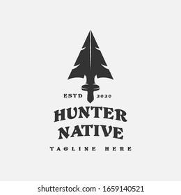 Native Indian Spear Arrowhead for Hunting, Hunt, Hunter Vintage Grunge Retro Hipster Logo Design