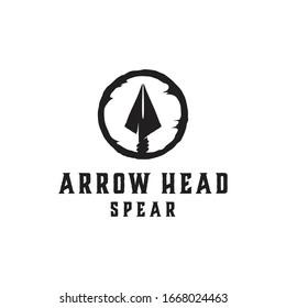 Native Indian Spear Arrowhead for Hunting, Hunter Vintage and Hipster Logo Design vector illustration