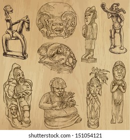 Native and Old Art around the World (set no.2). Collection of hand drawn illustrations (originals, no tracing). Each drawing comprise of two layers of outlines, colored background is isolated.