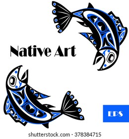 native salmon Vector fish in blue on white background