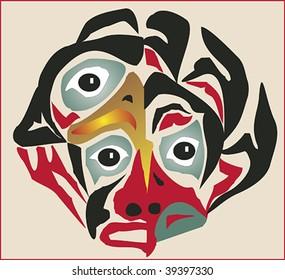 Native three-eyed mask rendered in Northwest Coast Native style.