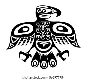 Native totem bird - black and white version