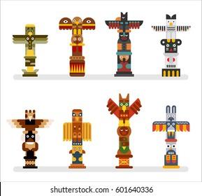 native totem tower vector illustration flat design