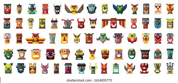 Native totem vector cartoon set icon.Vector illustration animal mask on white background.Isolated set icon native totem.