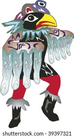Native tribal dancer wearing feather cloak and bird mask rendered in Northwest Coast Native style.