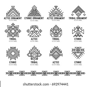 Native tribal icon set. Line art geometric logo, aztec and indian culture design collection and ornament. Ethnic style vector isolated on white background. Seamless ornamental brush