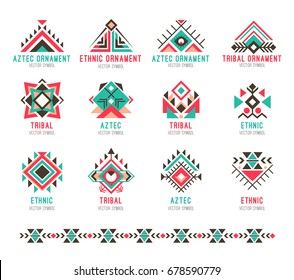 2f08b8652 Native tribal pattern set. Colorful geometric design, aztec and indian  culture design collection and