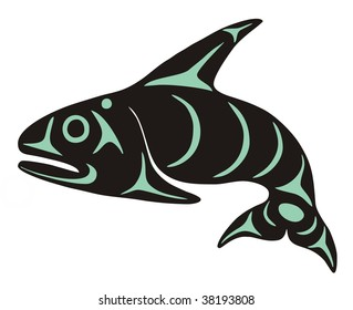 Native Whale Vector