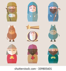 Nativity Christmas with figurines including Jesus, Mary, Joseph, Kings of Orient