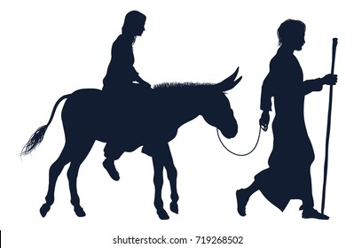 A nativity Christmas illustration of the Virgin Mary and Joseph with donkey in silhouette on their journey