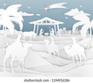 A nativity Christmas scene in a cut paper style. Baby Jesus in manger. Bethlehem in background. 3 Wise Men riding in silhouette to pay homage. The star above stable. Christian religious illustration.