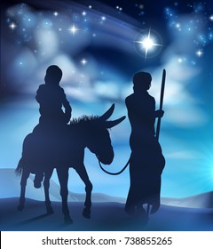 Nativity Christmas scene illustration of Joseph and Virgin Mary riding a donkey on their journey in the desert. With the star of Bethlehem in the background