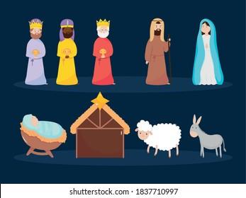 nativity, manger characters and animals season celebration icons vector illustration