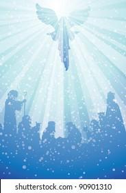 nativity scene with angel in heavenly light above baby jesus