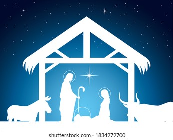 nativity, scene of baby Jesus in the manger with Mary Joseph and animals vector illustration