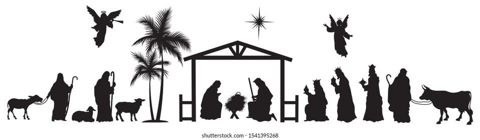 Nativity scene of baby Jesus silhouette in a manger with Mary and Joseph with the three wise men. Christian Christmas silhouette of animals and angels. Illustration for children.