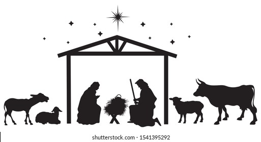 Nativity scene of baby Jesus silhouette in a manger with Mary and Joseph. Christian Christmas silhouette of animals and angels. Illustration for children.