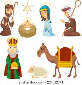 Nativity scene characters illustrations