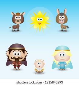 Nativity Scene Characters Set Cute Cartoon Vector Illustration