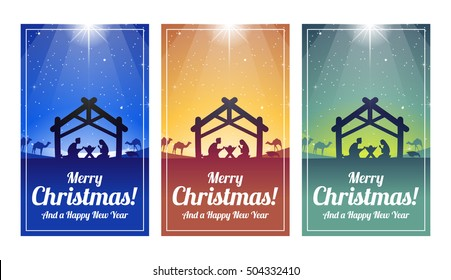 Nativity Scene Christmas Cards - Blue, Orange and Green - Jesus, Mary and Joseph in a Manger